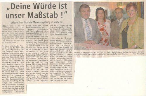 Zeitungsartikel aus der Rund um Sibbesse zum ersten Mai 2006
